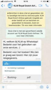 KLM vluchtgegevens via WhatsApp