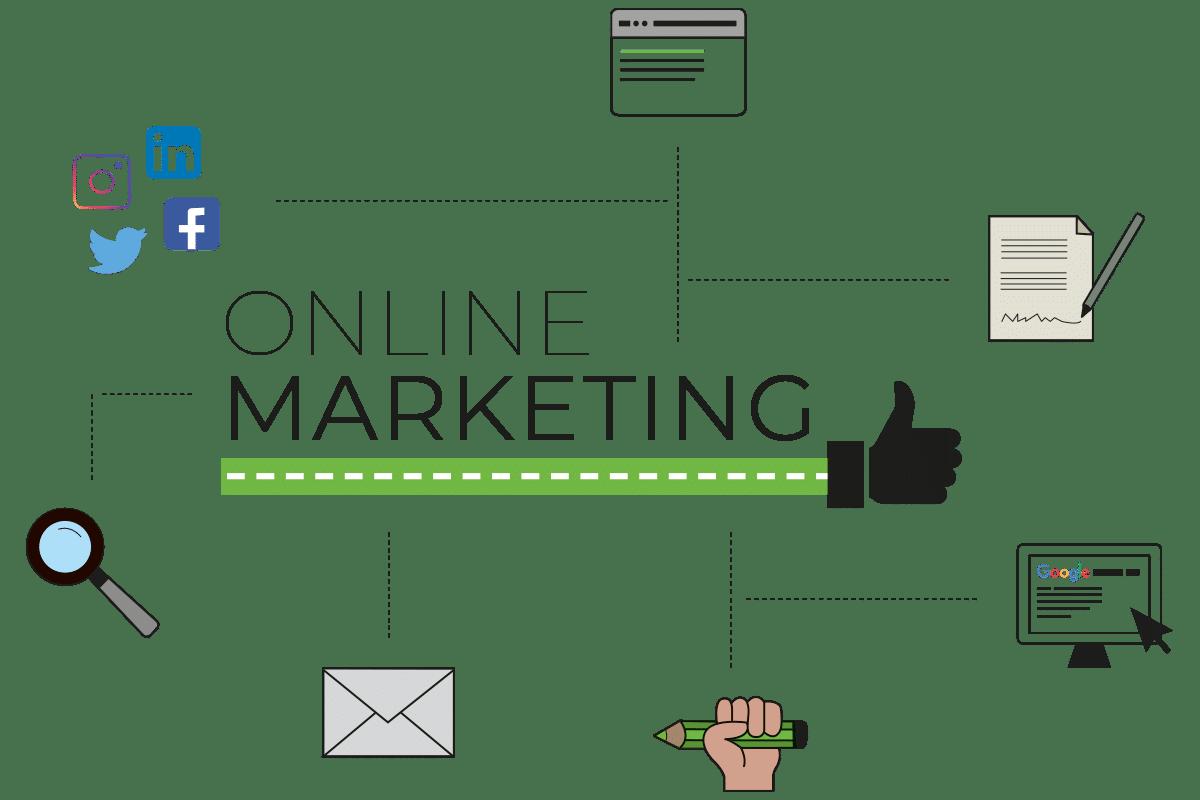 social media icons, vergrootglas, envelop, potlood met hand, computer met google, brief met pen, website en de tekst online marketing met een duim