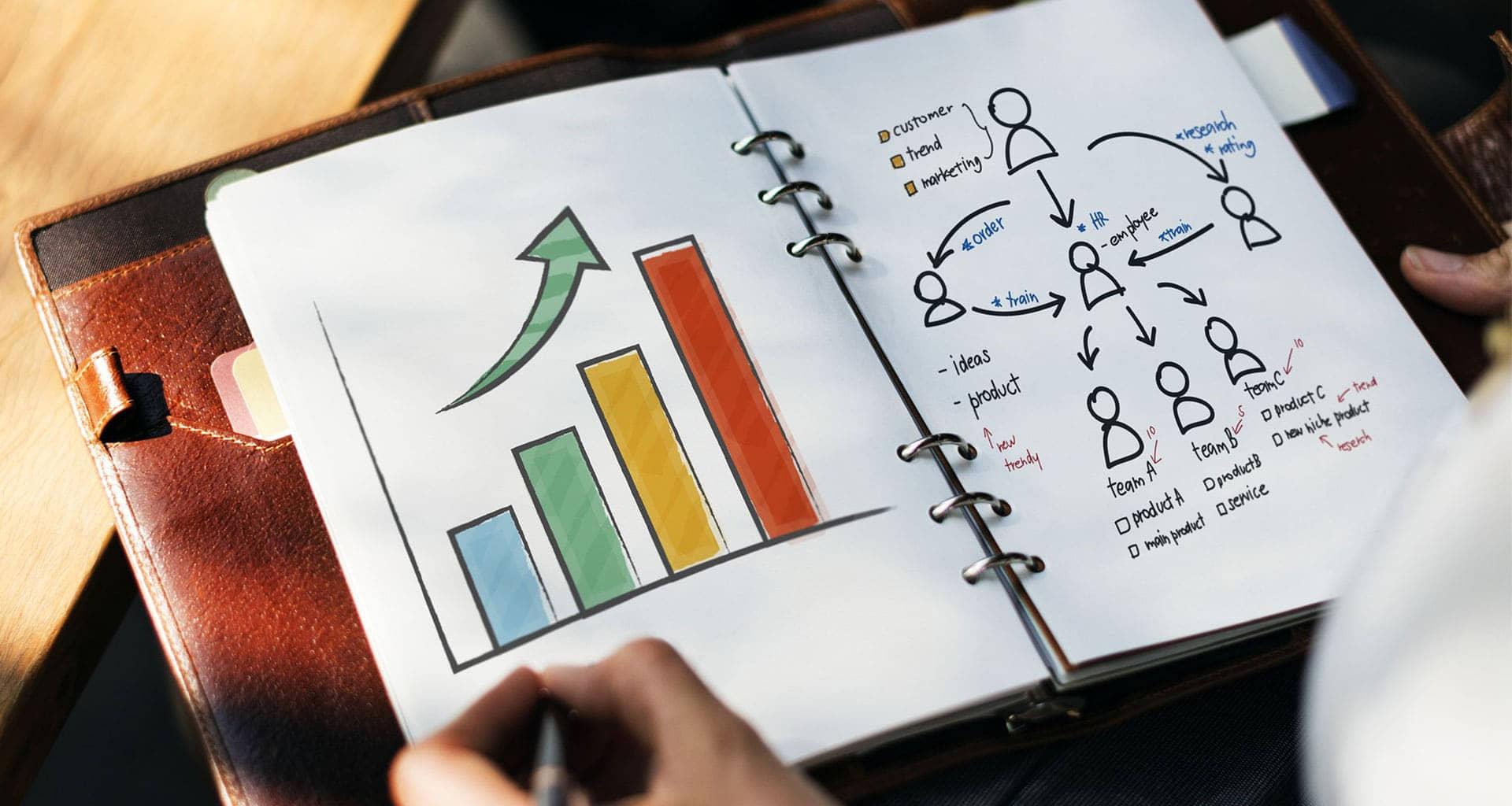 Schrift met strategie en stijgende grafiek